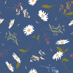 Seamless vector floral pattern with meadow flowers hand-drawn in sketch style in soft pastel colors on blue background