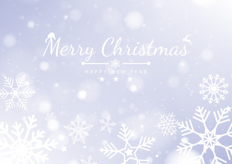 Merry Christmas Background with white bokeh lights for Holiday Poster, Banner, Card. Vector illustration