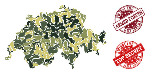 Military camouflage collage of map of Swissland and red rubber seals. Vector top secret and armed forces seals with unclean rubber texture. Army flat design for military templates.