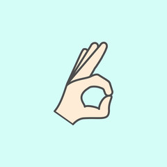 hand sign all is well colored outline icon. One of the collection icons for websites, web design, mobile app