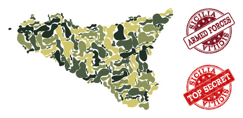 Military camouflage collage of map of Sicilia Island and red unclean seals. Vector top secret and armed forces watermarks with unclean rubber texture. Army flat design for military illustrations.