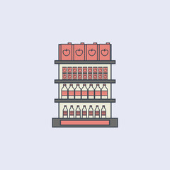 juice packaging on shelves colored outline icon. One of the collection icons for websites, web design, mobile app