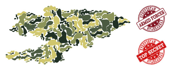 Military camouflage combination of map of Kyrgyzstan and red rubber stamps. Vector top secret and armed forces watermarks with retro rubber texture. Army flat design for patriotic posters.