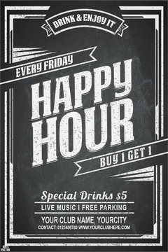 Vintage chalk drawing for a happy hour at the bar. Lettering with banner on the grunge background. Black and white pattern EPS 10