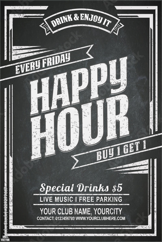 Vintage chalk drawing for a happy hour at the bar  Lettering