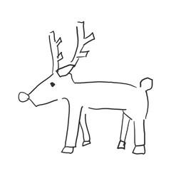 弱そうなトナカイ。クリスマスイメージ落書き風イラスト・塗りなし線画