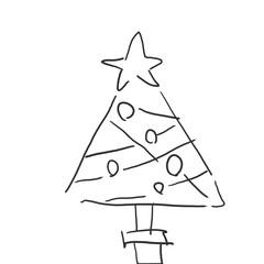 クリスマスツリー クリスマスイメージ落書き風イラスト・塗りなし線画