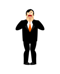 Businessman afraid looks up. Prays to god