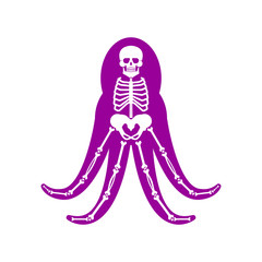 Octopus Anatomy skeleton. Poulpe Sea monster. Vector aquatic animal
