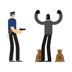 Cop and Robber Detention. Policeman and burglar arrest. Officer Police and mugger and money bag. Vector illustration
