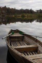 lonely boat with oars