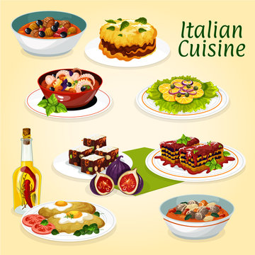 Italian cuisine dinner meals and desserts