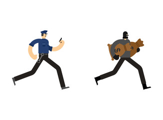 Cop and Robber Detention. Policeman and burglar arrest. Officer Police and mugger and money bag. Vector illustration
