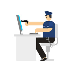 Policeman and pc and gun. Virtual Cop and weapon. Internet security. Officer Police and Computer. Vector illustration