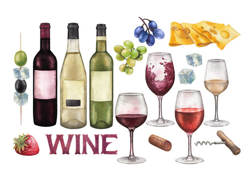Watercolor wine glasses, bottles and other with delicious food