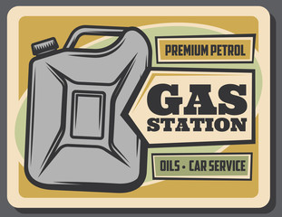 Gas station retro poster, gasoline jerrycan