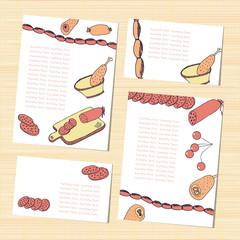 Template. Sausage, ham. Sketch. Set. Background menu invitation