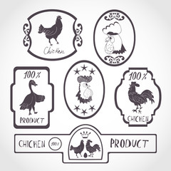 A set of labels, stamps, stickers. Black and white image on white background. Chicken
