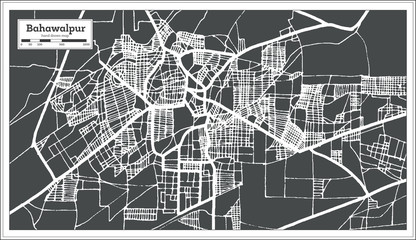 Bahawalpur Pakistan City Map in Retro Style. Outline Map.