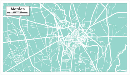 Mardan Pakistan City Map in Retro Style. Outline Map.