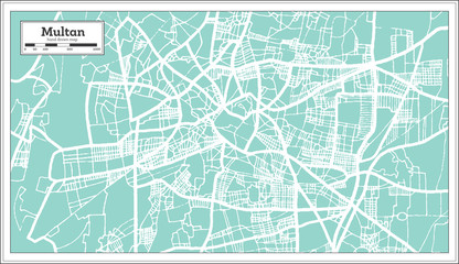 Multan Pakistan City Map in Retro Style. Outline Map.