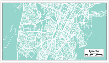 Quetta Pakistan City Map in Retro Style. Outline Map.