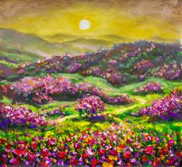 flower landscape - red violet flower bushes in the mountains - flower landscape - oil painting