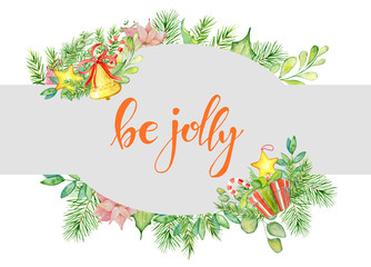 Merry Christmas watercolor card with floral winter elements. Be jolly lettering quote
