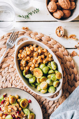 Chickpeas with onion and roasted brussel sprouts