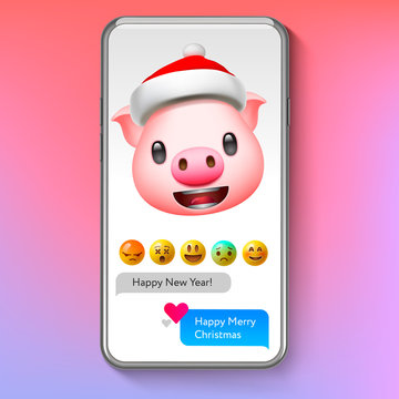 Christmas emoji Pig in Santa's hat, holiday smile face emoticon, vector illustration.