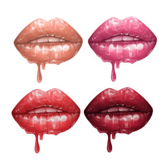 Collection of realistic lips with flowing glossy lipsticks in various colors.