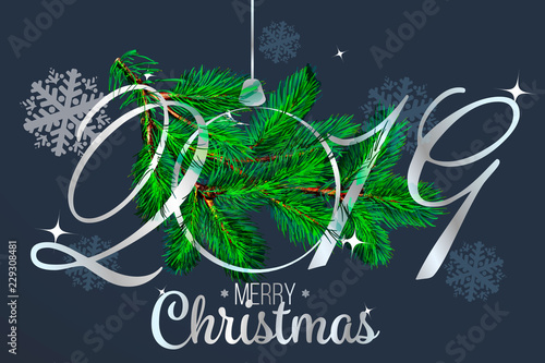 2019 new year background with fir branches and silver glossy christmas ball christmas greeting card