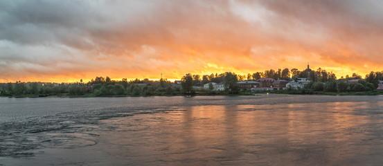 Sunset over the town of Myshkin.Russia .Volga.
