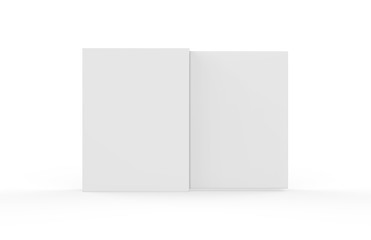 White sleeve cardboard box template standing vertical, mock up template on isolated white background, 3d illustration.