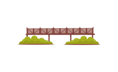 Long wooden pedestrian bridge with railings and green bushes. Flat vector element for map of city park