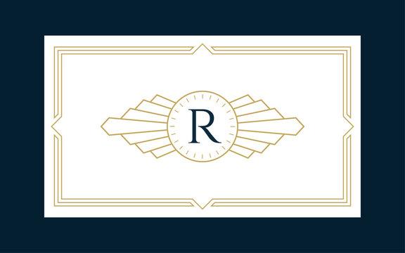 Art Deco Monogram Business & Invitation Card Template
