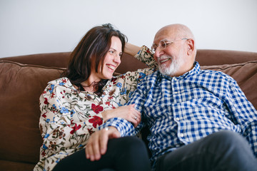Father and his daughter together at home.