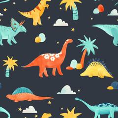 Watercolor dinosaur baby vector pattern