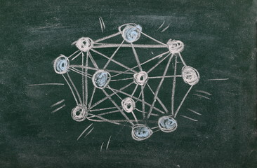 Chemical formula, structure drawn on chalkboard, blackboard background, texture