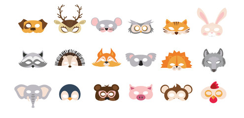 Set of photo booth props masks of wild and domestic animals. great for party and birthday. vector illustration