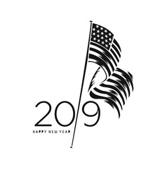 Happy New Year 2019 with usa flag, Vector illustration.
