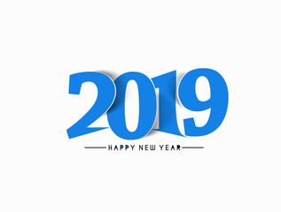 Happy New Year 2019 Text Design  Patter, Vector illustration.