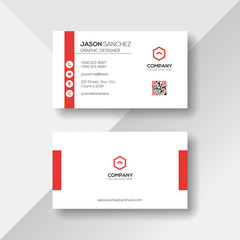 Simple and Clean White Business Card with Red Details
