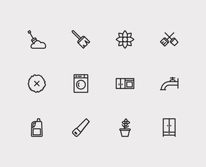 Housekeeping icons set. Water crane and housekeeping icons with remove moss, washing machine and snow removal. Set of plumbing for web app logo UI design.