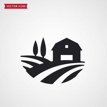 Farm barn and fields. Farmhouse vector icon.