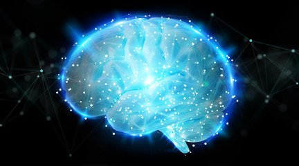 Digital 3D projection of a human brain 3D rendering
