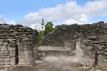 Kohunlich, Maya Ruins, blue sky with clouds