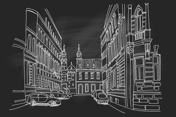 Wall Mural - Vector sketch of street scene in Zagreb, Croatia.