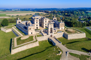 Old, ruined castle Krzyztopor in Ujazd, Poland, built in 17th century, ruined to naked walls in 18th century. Aerial view in the morning
