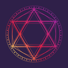 Hexagram encompassed with a circle. Multicultural symbol representing anahata chakra in yoga and a Star of David. Line drawing isolated on a deep violet background. Tattoo design. EPS10 vector